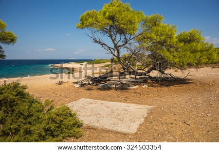 Sea shore and sandy beach of the island  Moni, Saronida, Greece