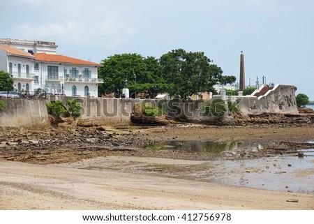 Sea shore near the Plaza de Francia in the Casco Viejo, the historic district of Panama City, Panama, Central America - stock photo