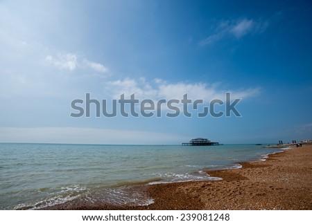 sea shore of Brighton, England - stock photo
