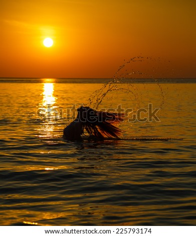 Sea, silhouette to the beautiful girl at sunset - stock photo