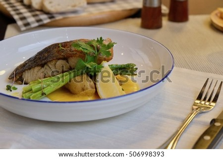 sea snapper steak with grilled vegetables