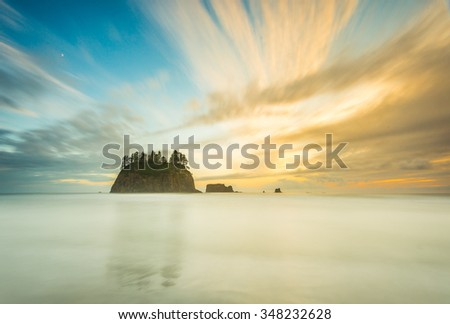 sea stack and cloudy in sunset time,scenic view on the Second beach in mt Olympic National park,Washington,USA. - stock photo