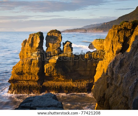 Sea Stack, Punakaiki, West Coast, South Island, New Zealand - stock photo