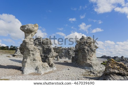 Sea stacks at Folhammar, Gotland in the Baltic sea. Imaginative and natural sculptures. A sea stack is a by abrasion shaped rock, a geological phenomenon which give the area this imaginative look