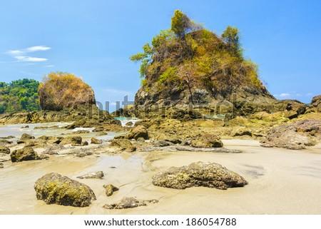 Sea stacks at Manuel Antonio National Park in Costa Rica - stock photo