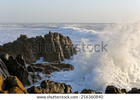 Sea storm at sunset with big waves against cliff - stock photo