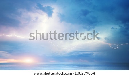 Sea storm. Dramatic scene. Composition of nature - stock photo