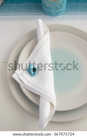 sea style place setting for dinner - stock photo