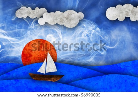 sea, sun, sailboat - stock photo