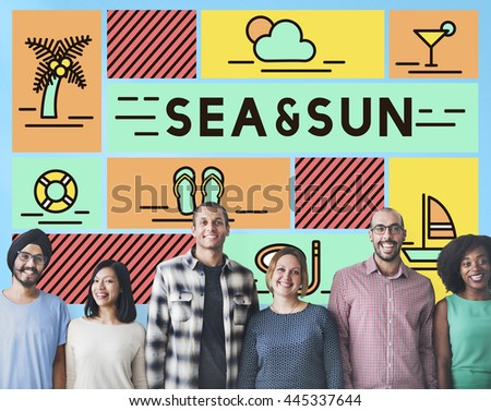 Sea Sun Sand Beach Ocean Shore Coast Vacation Concept - stock photo