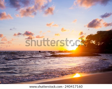 Sea sunrise in Chaweng beach Koh Samui island, Thailand. - stock photo