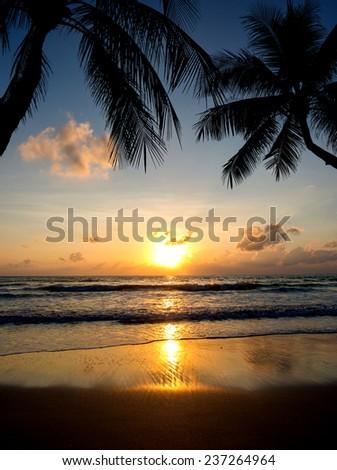 Sea sunrise in Koh Samui island, Thailand. - stock photo