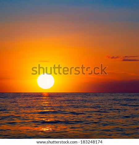 Sea Sunrise Sky With Lighted Clouds  - stock photo