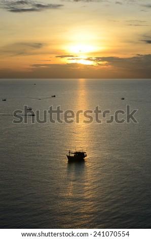 sea sunset 2 - stock photo