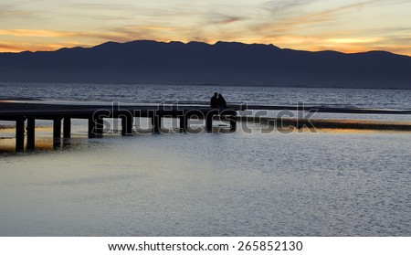 Sea sunset in the NationalPark of Deltebre.Catalonia.Spain - stock photo