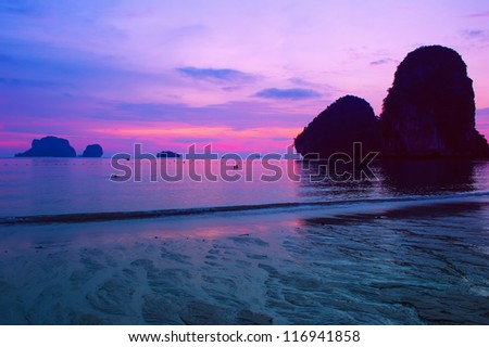 Sea sunset landscape - stock photo
