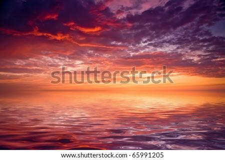 sea sunset landscape image - stock photo