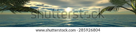 Sea sunset. Panorama. - stock photo