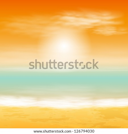 Sea sunset. Raster version of the loaded vector. - stock photo