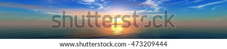 sea sunset. sunrise over the sea. panorama. 3d rendering.