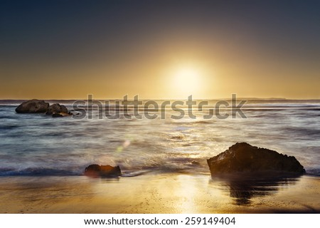 sea sunset. Sunset over sea. - stock photo