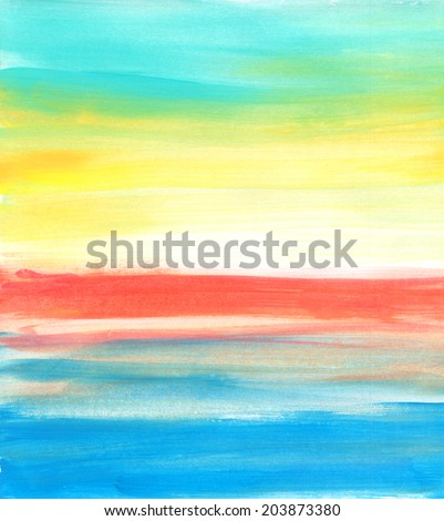 Sea sunset (watercolor) - stock photo
