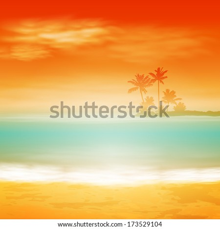 Sea sunset with island and palm trees. Raster version. - stock photo