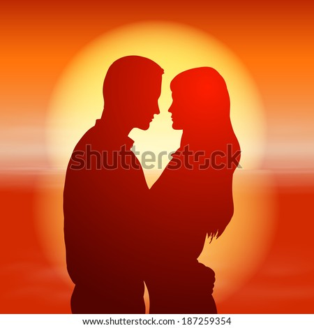 Sea sunset with silhouette couple. Raster version. - stock photo