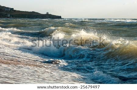 Sea surf great wave break on coastline - stock photo