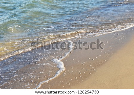 Sea surf wave with foam on shore