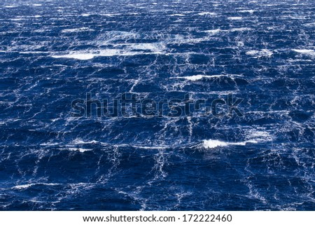 Sea surface during 11-beaufort winds in southern ocean - stock photo