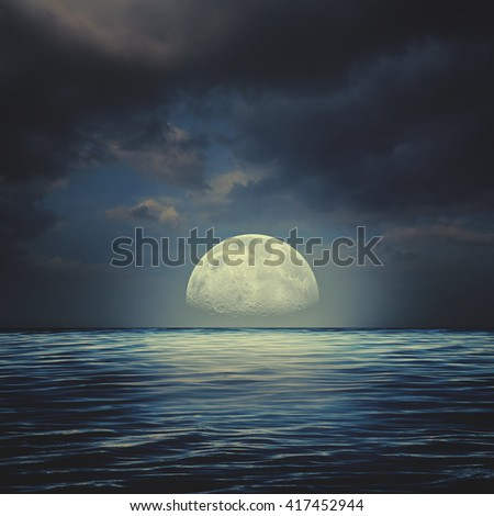 Sea surface under night stormy skies, abstract natural backgrounds - stock photo