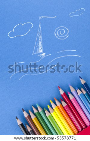 Sea theme paint with pencils - stock photo