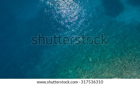Sea top view - stock photo
