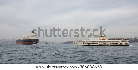 Sea traffic on Istanbul Bosphorus, Turkey.