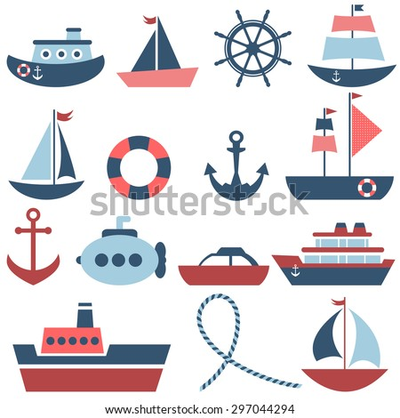 sea transport set. Raster version - stock photo