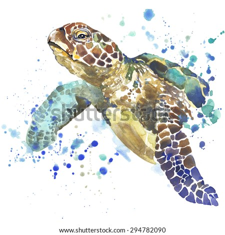 sea turtle T-shirt graphics, sea turtle illustration with splash watercolor textured background. unusual illustration watercolor sea turtle for fashion print, poster for textiles, fashion design - stock photo