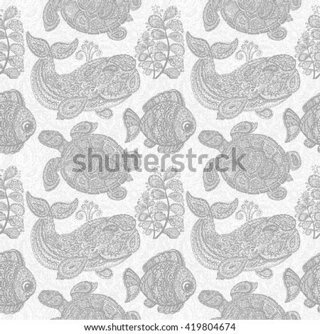 Sea turtle, whale, water plant and fish pattern. Doodle paisley mehndi style pattern. Sea life. Pattern with colorful animals in the ocean. Sea life pattern. Wallpaper seamless surface textile pattern - stock photo