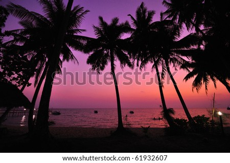 Sea view after the sun set - stock photo