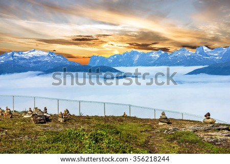 sea view and mountains, Norway, Tromso - stock photo