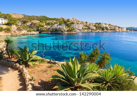 Sea view azure water beach village, Cala Fornells, Majorca island, Spain - stock photo