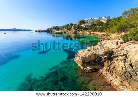 Sea view azure water beach village, Cala Fornells, Majorca island, Spain