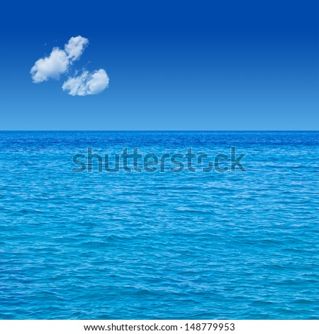 Sea View. Blue Deep Sky. Sunlight. Wallpaper. Background.
