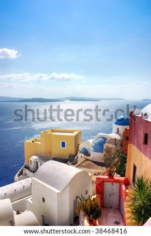 Sea view from Santorini, Greece - stock photo