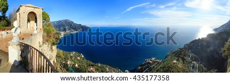 Sea view from Villa Cimbrone terrace (Ravello, Amalfi coast, Italy). Panorama. There is some sun flare effect.  - stock photo