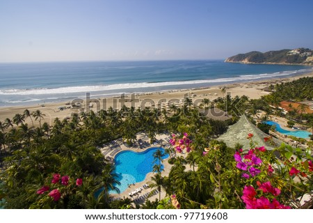 sea view hotel room in Acapulco/Pool and sea/ - stock photo