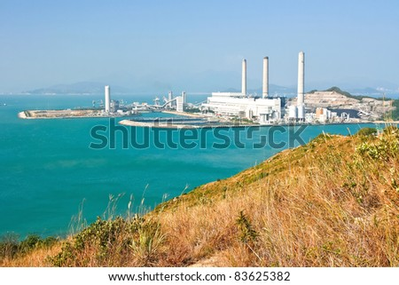 Sea view in Hong Kong from hill top of Lamma Island - stock photo