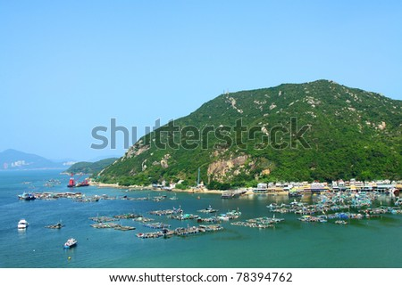 Sea view in Hong Kong from hill top of Lamma Island, with many boats.
