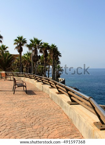 Sea view in small viewpoint in Callao Salvaje district in Tenerife island in Canary islands. Callao Salavje is famous local and tourist place.