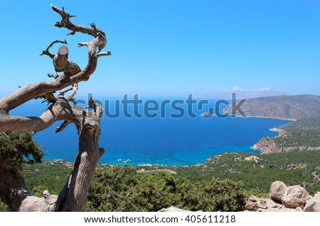Sea view landscape from top of island Rhodes. Sea landscape. View of sea forest landscape. Amazing sea forest landscape. Sea sky view and forest tree landscape Greece landscape. Tree landscape sea sea - stock photo